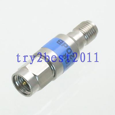 SMA plug Attenuator to Jack pin 2W 20dB DC-6.0GHZ 50 coaxial Stainless RF steel