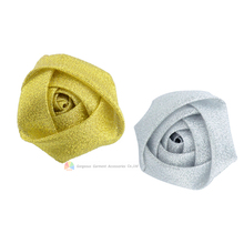 50pcs 5cm Metallic Gold Silver Satin Roses 2Petite Rolled Rosettes Fabric Ribbon Flower For DIY Bridal Bouquets Browbands