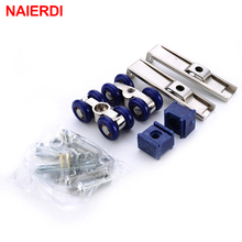 NAIERDI Light Sliding Door Roller 4 Wheels Home Room Wood Door Hanging Wheels Rail Track Pulley Bear 30KG For Furniture Hardware