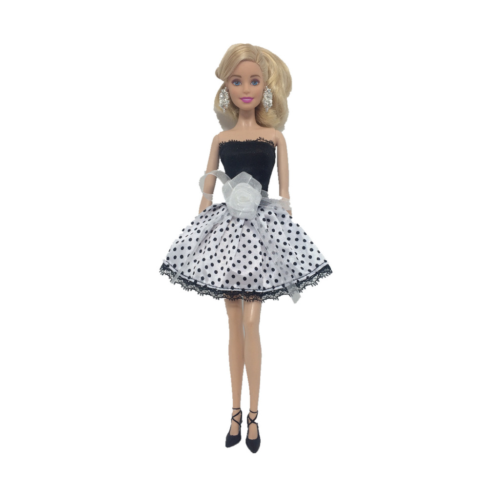NK One Set Newest Fashion Dress Doll Clothes Handmade Party Outfit For Barbie Original Doll Girls' Gift 071A new 20 pcs set handmade party 12 clothes fashion mixed style dress 8 pair accessories shoes for barbie doll best gift girl toy