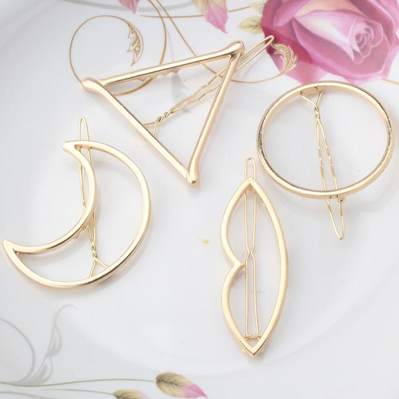 Fashion Woman Hair Accessories Triangle Hair Clip Pin Metal Geometric Alloy Hairband Moon Circle Hairgrip Barrette Girls Holder
