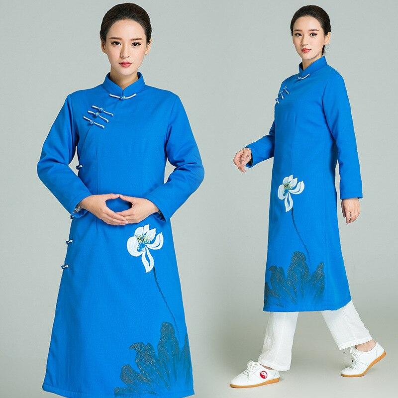 New Product Linen Hand Painted Tai Chi Robe Women Chinese Martial Arts Uniform Set Di Arti Marziali