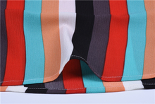 O-Neck Short Sleeve Striped Print Chiffon Tops