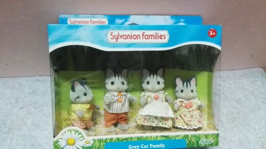 Gray Cat Family mini size Sylvanian Families Figures Anime Cartoon figures, Toys Child Toys gift animal doll tt03 sylvanian families mouse family 4pcs parents