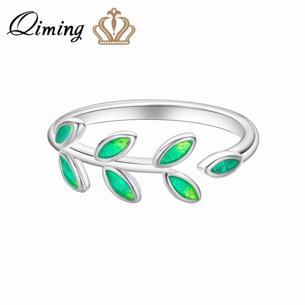 QIMING Luxury Green Stone Leave Rings For Women Birthday Anniversary Gift Adjustable Leaf Charm Silver Ring Women's Jewelry