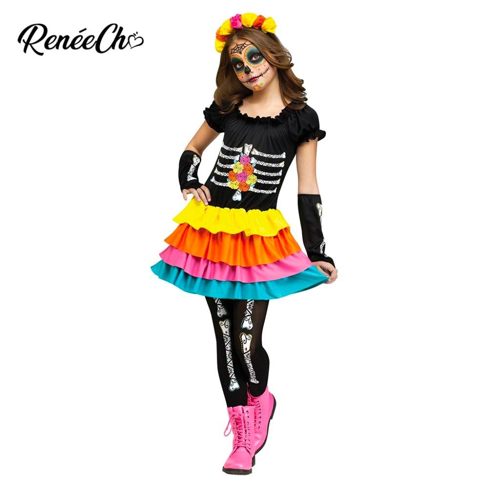 SW Girls Child Kid Costume Fancy Dress Poncho Day of Dead Skeleton 8 10 12 14