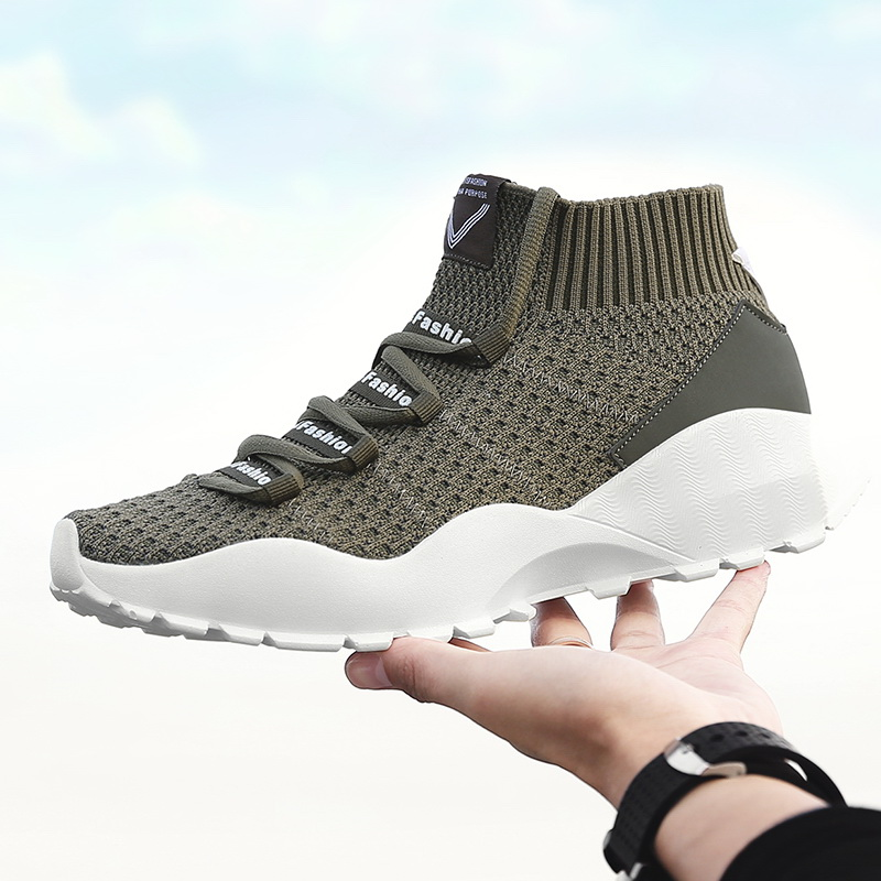 Mens Spring /Autumn Running Sport Shoes Lightweight Breathable Sock Sneakers Walking High-top Flexible fabric Army Green Boots
