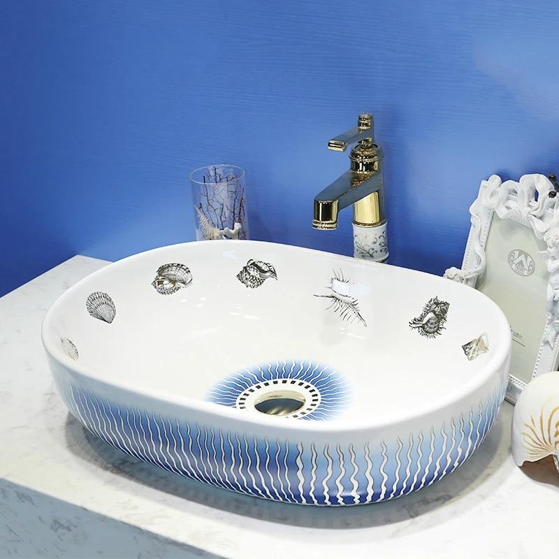 porcelain art sea shell like white round ceramic wash basin bathroom sink artistic basin oval