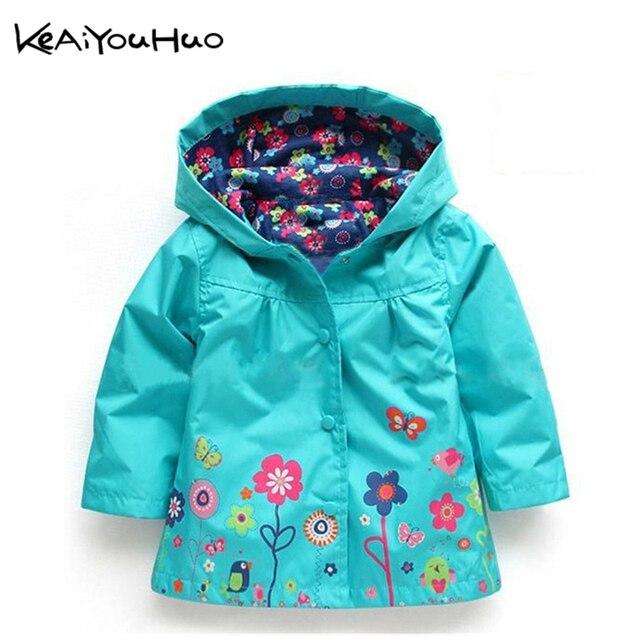 ece4801d91c79 KEAIYOUHUO garçons filles fleurs vent pluie à capuche veste coupe-vent  enfants Floral imperméable chaud