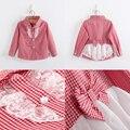 Moda xadrez blusas de manga comprida para meninas crianças de algodão crianças Bowknot