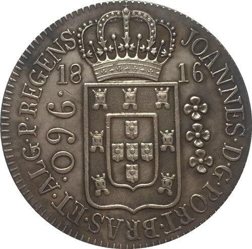 1816 Бразилия 960 Reis Монеты Скопируйте Бесплатная доставка 40 мм