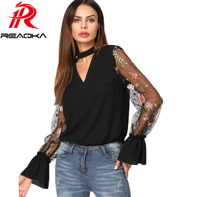 e92136a1b40736 2018 New Summer V Neck Floral Blouse Women Tops Embroidered Mesh Sleeve Choker  Neck Blouse Black Long Sleeve Elegant Blouse