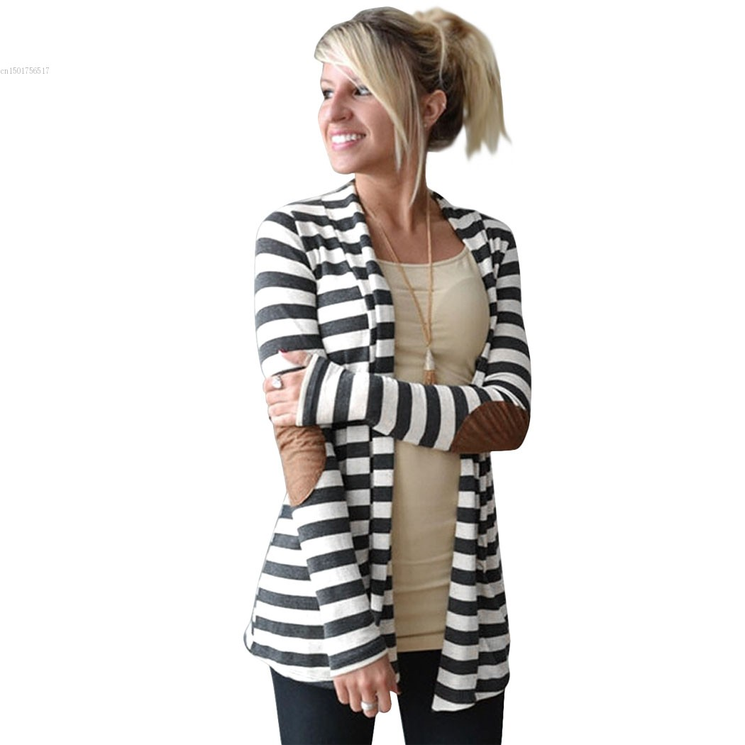 autumn Brand Striped Women Cardigan Long Sleeve elbow patchwork knitted Sweaters stripes Cotton cardigan Long women Tops