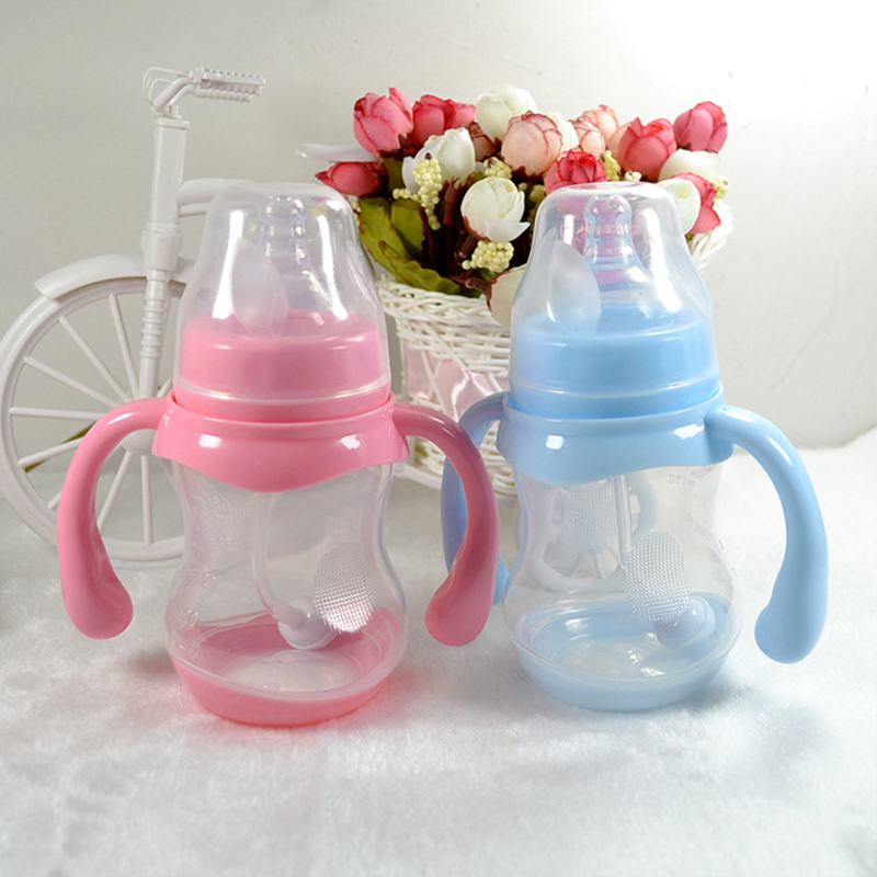 Safely Baby Water Milk Training Bottle Children Leak-proof Drinking Cups Baby Sippy Cup Feeding Drinking Handle Bottles 180ML