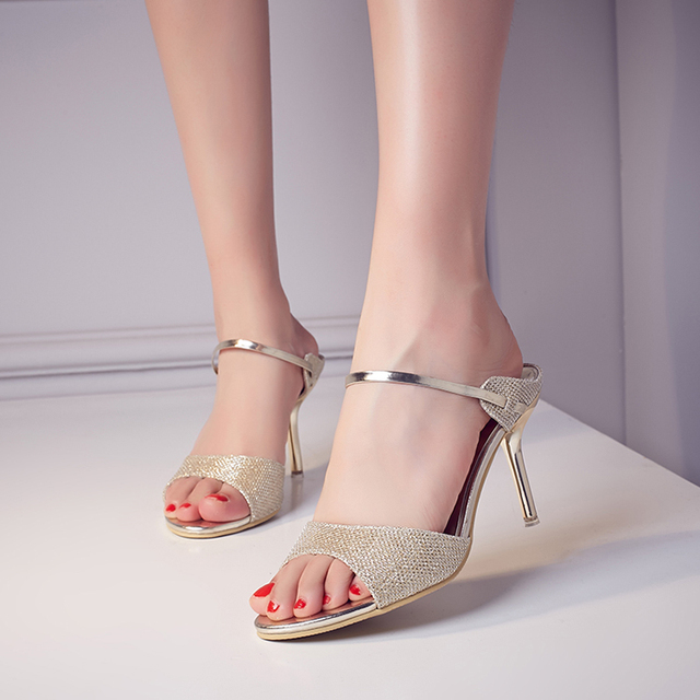 1ad82265fe8 Ladies Sexy Mixed Colors Ankle Strap Office High Heels Shoes Hot Sale Women  Fashion Sequined Colth Open Toe Party Sandals 59-69