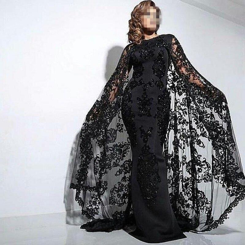 Kaftan Dress 2019 Black Appliques Mermaid Evening Dresses Dubai Abaya Caftan With Cape High Neck Beaded