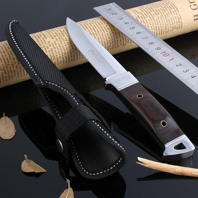 Colombia Fixed blade font b knife b font 55HRC wood handle straight font b knife b