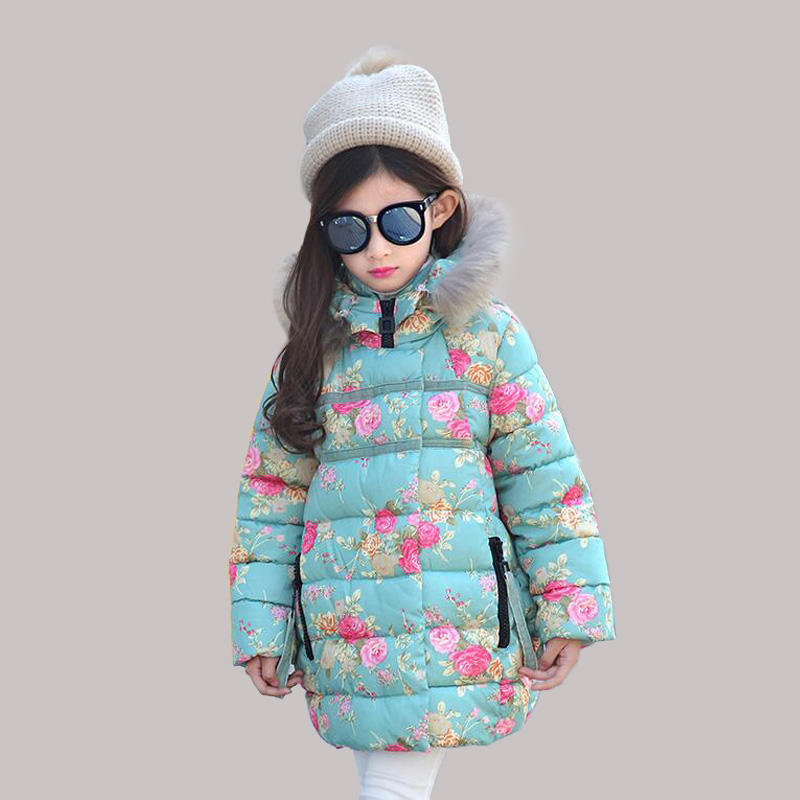2016 Winter Girls Coats Cotton Jackets Hooded Faux Fur Collar Children Baby Clothes Thick Outdoor Parka Clothing Q2090 new winter coats women jackets large faux fur collar thick plus velvet ladies parka hooded jacket outwear s1083