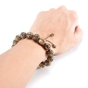 Image 3 - Металлический браслет с бусинами, мужской медный браслет с гравировкой, молитва Ом, тибетский буддизм, мала для медитации, Йога, браслет для женщин, Исцеляющие украшения