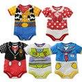 Mamelucos del bebé de la historieta del bebé mono de la impresión niños ropa recién nacido ropa infantil de verano de manga corta ropa bebé