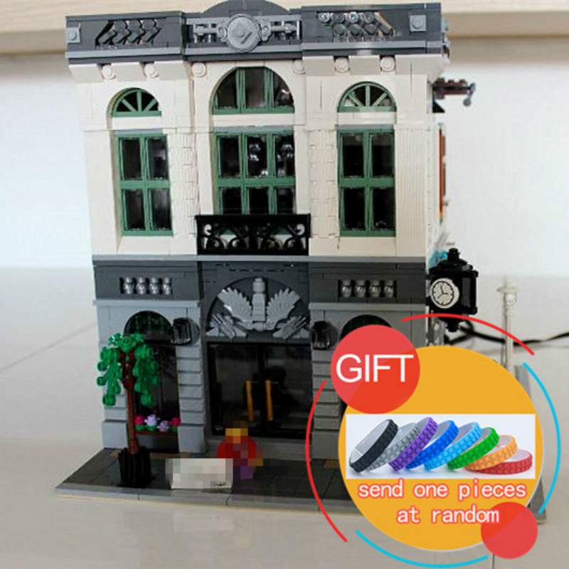 15001 2413pcs City Series Brick Bank Model Building Kits Blocks Compatible With 10251 toys lepin loz mini diamond block world famous architecture financial center swfc shangha china city nanoblock model brick educational toys