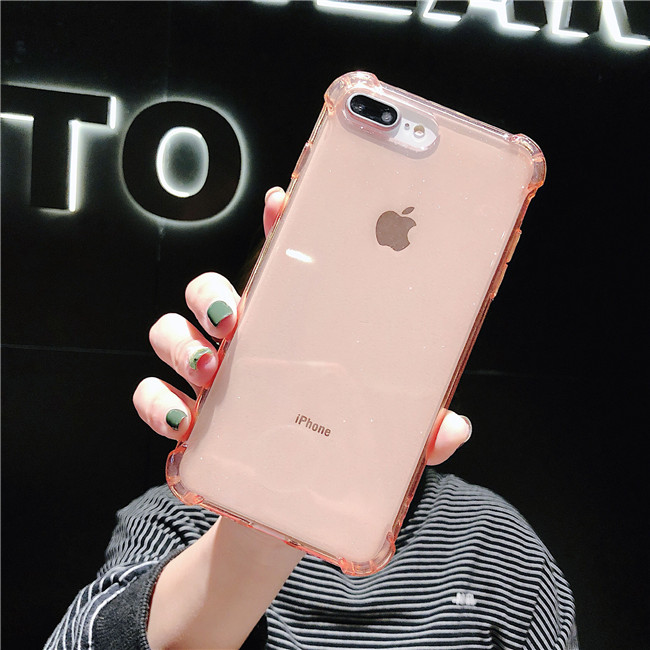 Deluxe simple solid color flash phone case for iPhone 8 7 6 6S Plus transparent protection back case for iPhone X XS Max XR case