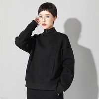 Plus size black turtleneck t shirt women korean clothes long sleeve pockets loose casual tops autumn winter streetwear 2019