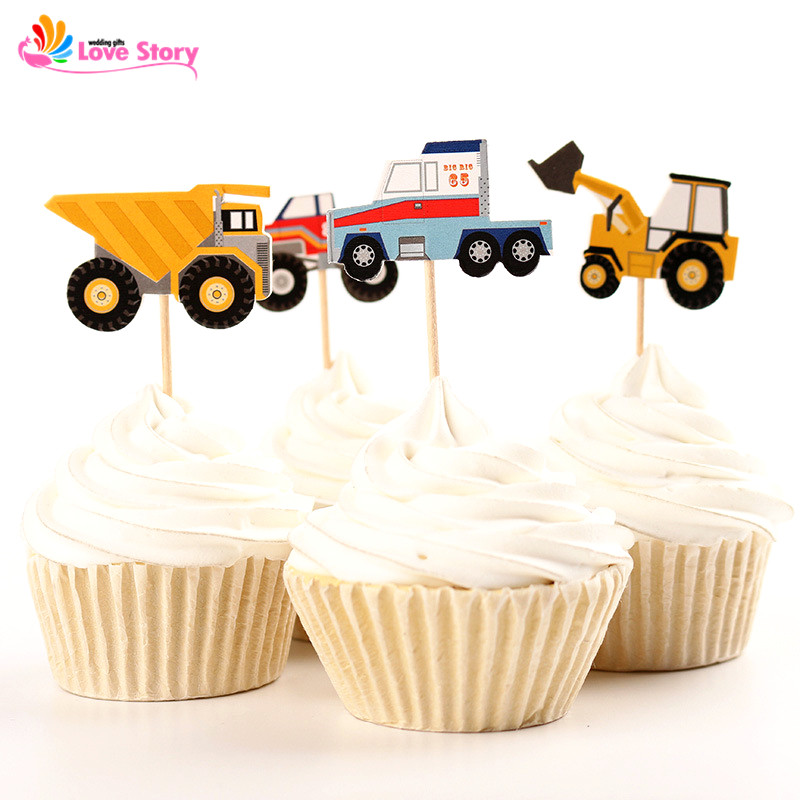 24pcs Pack Tractor Cars Paper Cupcake Toppers Cake Picks Party Supplies Favors Baby Shower Souvenirs Birthday Decoration Kids In Decorating