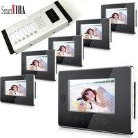 SmartYIBA 6 квартира 7 цвет ЖК дисплей сенсорный экран 2Way Hands Free домофон проводной монитор видео дверные звонки системы