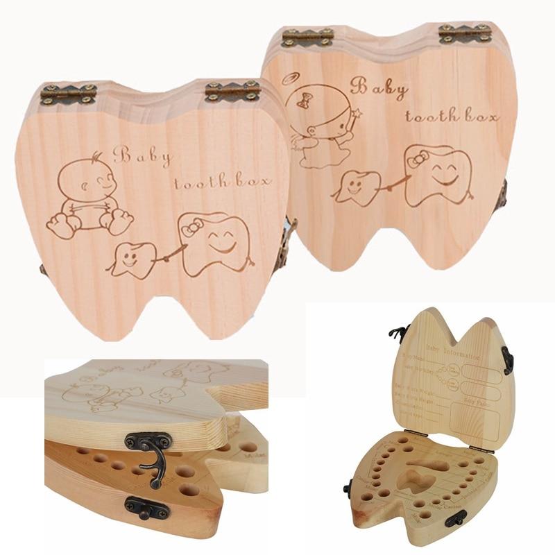 English Tooth Shape Baby Wood Tooth Storage Box Children Milk Teeth Save Case Keepsakes Box Kids Teethbox Boy Girl Tooth Holder