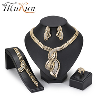 MuKun 2018 Dubai Gold Jewelry Sets For Women Turkish Yellow Color Indian Jewelry Sets Costume Jewelry