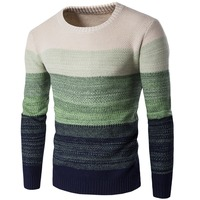 Autumn Winter Warm Sweaters Men Pullovers O Neck Knitwear Stylish Contrast Colors Man Casual Sweater Brand