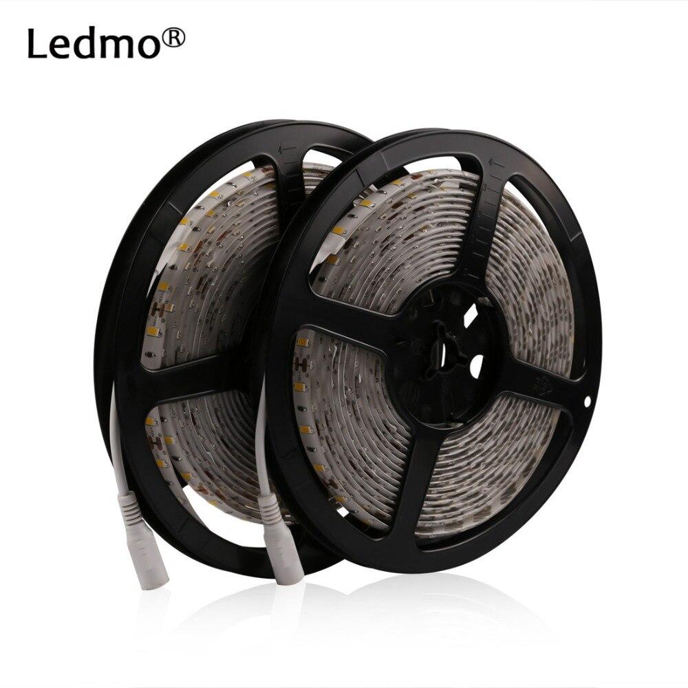 2 * 5M / Roll Led SMD 5630 600Leds silts balts ūdensnecaurlaidīgs LED lentes apgaismojums DC12V 60Leds / M Fiexble Light Led lente Elastīgs striplight