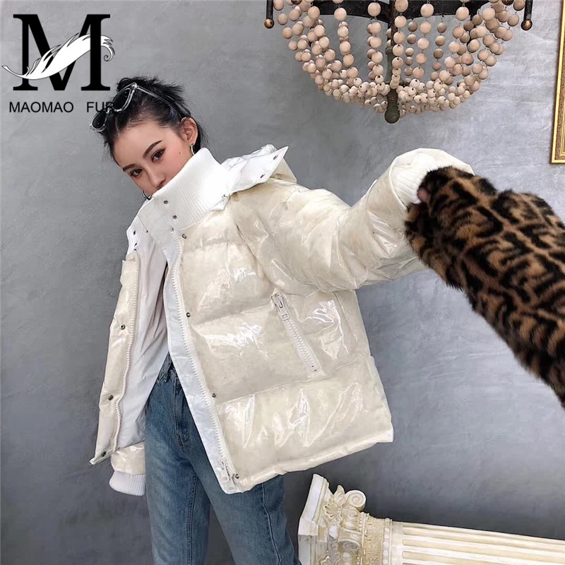 Winter Hooded Women   Down     Coat   Zipper Short Duck   Down     Coat   Female Warm White   Down   Feather Jacket