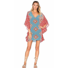 Feitong  Women Chiffon Mini Dress Loose V-Neck Batwing Sleeve Printing Casual Boho Half
