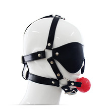 Pu Leather Harness Bondage Open Mouth Gag Red Ball Bite With Fetish Sex Blindfold Adult Sex Games Toys Sex Products For Couples