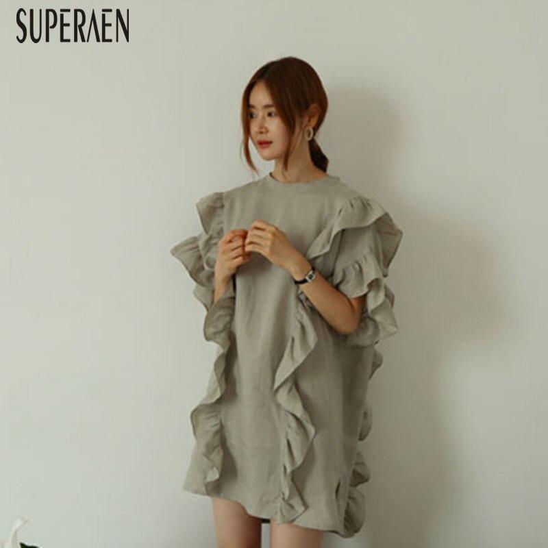 SuperAen 2019 Summer New Women Dress Korean Style Loose Pluz Size Ladies Dress Short Sleeve Cotton