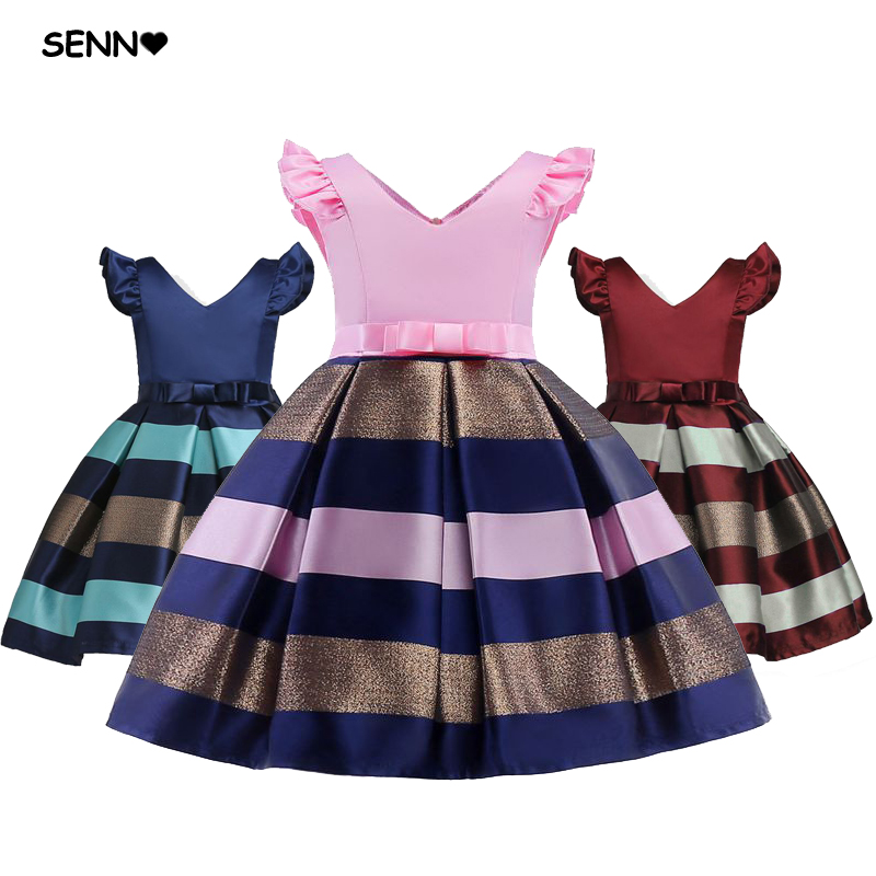 V-Neck Red Blue Pink Striped Party Girls Dress Summer Kids Baby Children Birthday Clothing Elegant Girls dress Party Dress shein eyelet crochet lace detail frill trim dress 2018 summer round neck butterfly sleeve dress women pink elegant ruffle dress