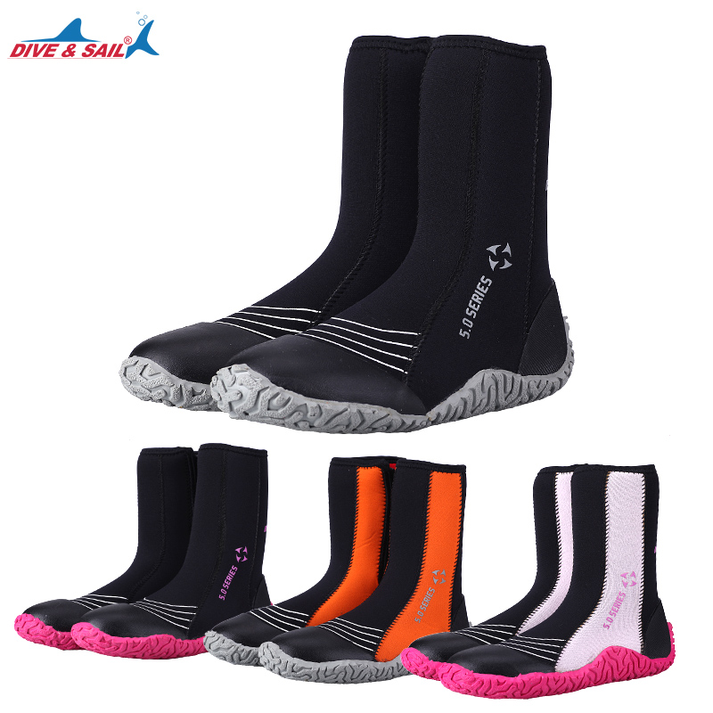 5mm SCR neoprene high upper warm boots Winter Water Sport surfing fishing scuba diving shoes anti
