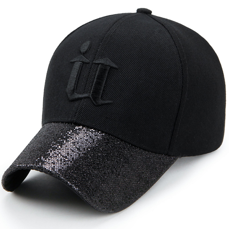 Korean Style Men Women's Hip Hop Dad Hat Sequin Curved Brim   Baseball     Cap   Size 56-60CM Adjustable Snapback Black Gray Pink Gold