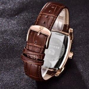 Image 5 - BENYAR zegarki mężczyźni luksusowa marka kwarcowy mężczyzna Wist zegarki skórzany wojskowy pasek Casual kwadratowy zegarek wodoodporny Reloj De Hombre