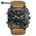 Infantry moda chronograph esporte mens relógios top marca de luxo relógio de quartzo rosto quadrado luminoso relógio de pulso relogio masculino