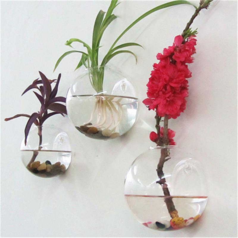 Home Decor Flower Vase Semicircular Wall Hanging Glass Plant Hydroponic Terrarium Fish Tank Wedding Decoration C5