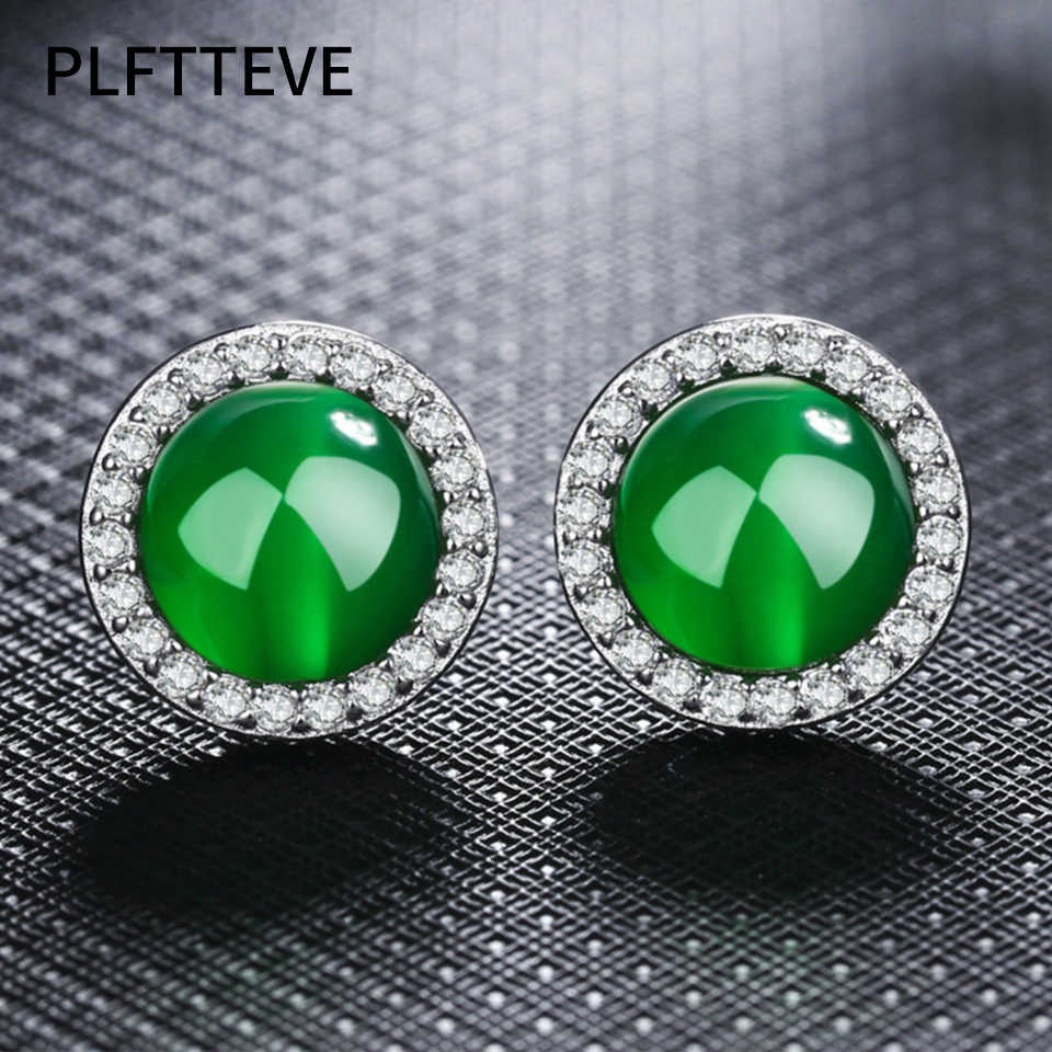 b2e81f5df Zircon Red Green Stone Stud Earrings For Women Girls Silver Color Round  Female Small Earring Fashion