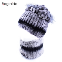 Raglaido Women Winter Fur Hats Ring Scarf Real Rex Rabbit Fur Hand Sewing New Hat Scarf