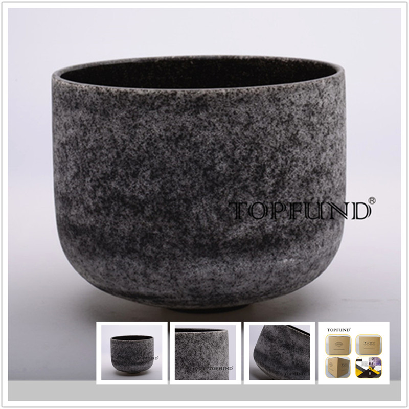 TOPFUND Obsidian Fusion E Note Solar Plexus Chakra Frosted Quartz Crystal Singing Bowl 10 With Free Mallet and O-Ring 8 indigo color a third eye chakra frosted quartz crystal singing bowl with free suede and o ring