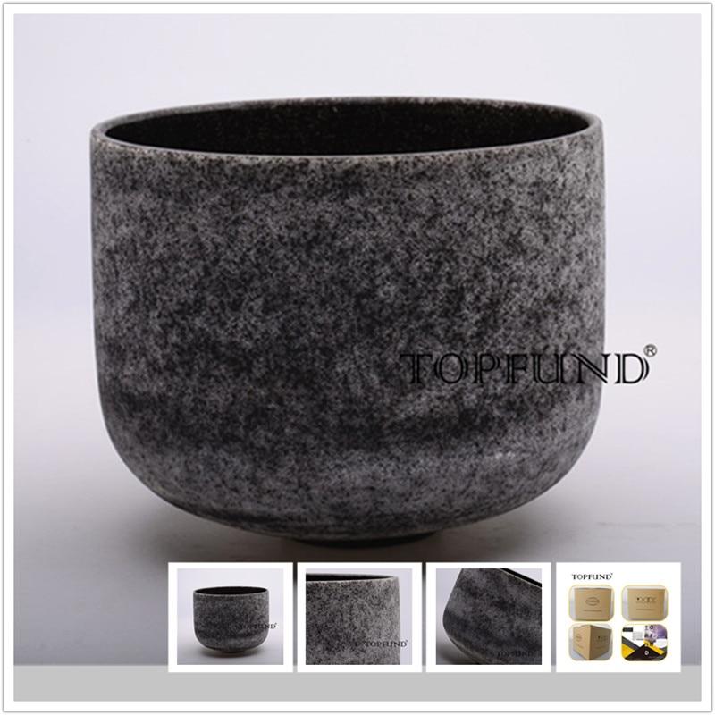 TOPFUND Obsidian Fusion E Note Solar Plexus Chakra Frosted Quartz Crystal Singing Bowl 10