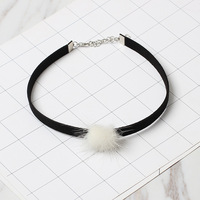 Mdiger Brand Fashion Women Jewelry Slim Layer Charm Choker Necklaces Cute Rabbit Hair Ball Chokers Necklaces