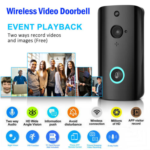 Wireless WiFi Video Doorbell Smart Phone Door Ring Intercom Security Camera Bell Two Ways Audio Doorbell