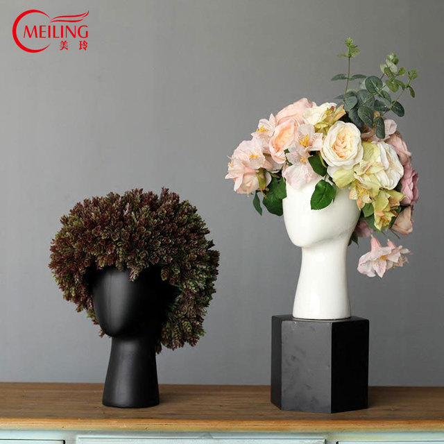 Creative Head Decoration Ceramic Planter Pot Flower Vase White Black